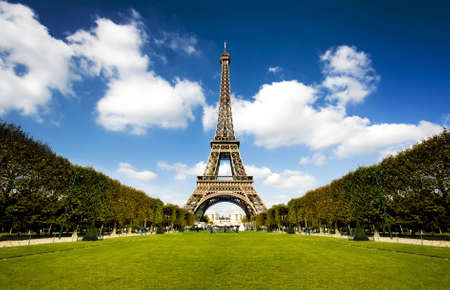 Beautiful photo of the Eiffel tower in Paris with gorgeous colors and wide angle central perspective. Stock Photo