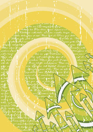 Vector illustration of a retro background with swirls and spirals and arrows in the corner. Poetry theme with text background. Stock Illustration - 3762164