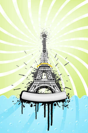 Vector illustration of the Eiffel tower in paris with ink splatter grunge explosions, stylish sea with bubbles and spiral sky. Metal board with bolts for custom design. illustration