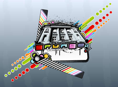 Vector illustration of a classic palace with colorful abstract circles and squares, striped strip, ink splatters and banner. illustration