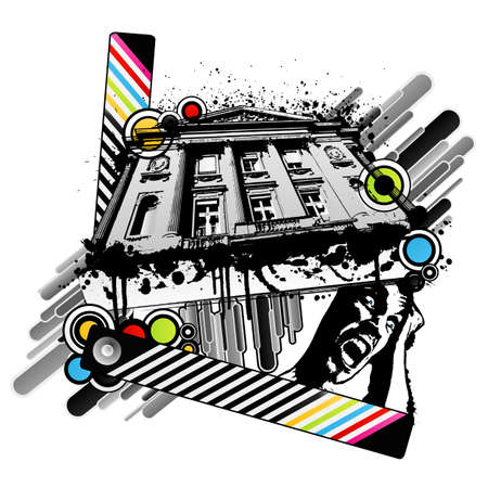 Vector illustration of a classic palace with colorful abstract circles and squares, striped strip, ink splatters and banner. Screaming man concept, horror. illustration