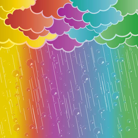 Vector illustration of a retro cloudy weather with transparent rain drops. Stock Illustration - 3762157