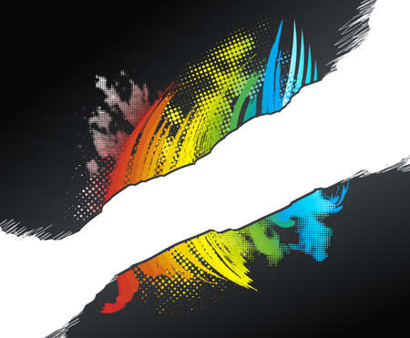 Vector illustration of a rainbow grunge halftone design with a white scribble stripe for custom elements. illustration