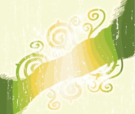 Vector illustration of a grungy halftone childish spirals background with halftone elements, aged textures and green nature stripes.