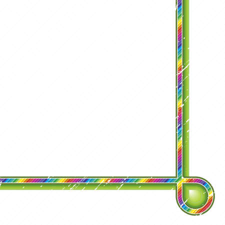 Vector illustration of a rainbow crayon lined art stripe curving in the corner. Trendy green outlines and diagonal lines in the background.