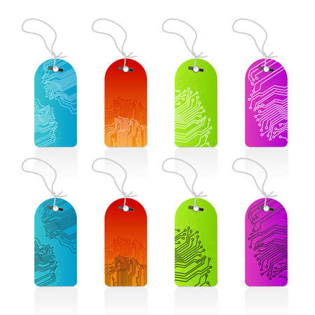 Vector illustration of highly detailed colorful computer circutry technological retail tags with leash. Beautiful gradients. illustration
