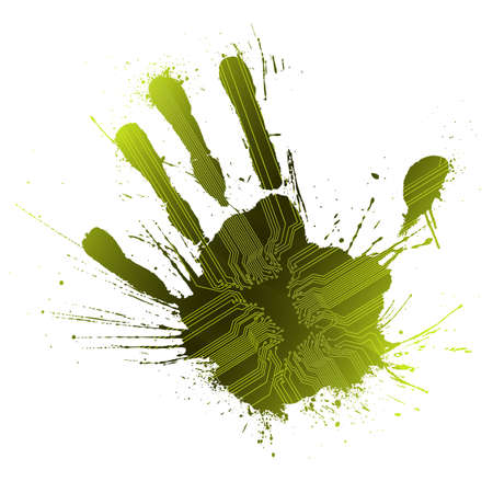 Vector illustration of a technological circuitry hand splatter with highly detailed ink explosion. Green. illustration