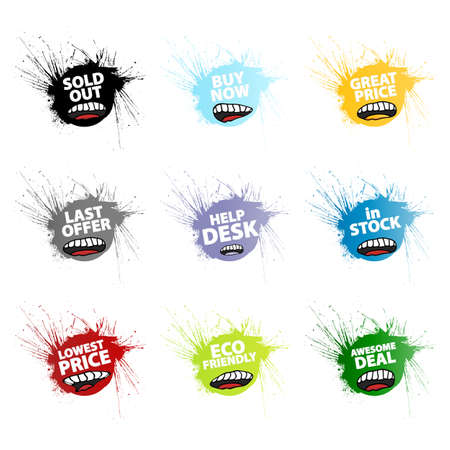 Vector illustration of nine different funny mouth design retail tags in grunge splatter style. illustration