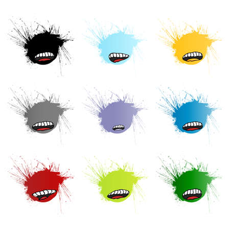 Vector illustration of nine different funny mouth design retail tags in grunge splatter style. Blank. illustration