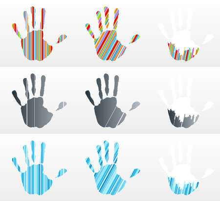 Vector illustration of various handprints with striped abstract textures. Rainbow, black and business blue. illustration