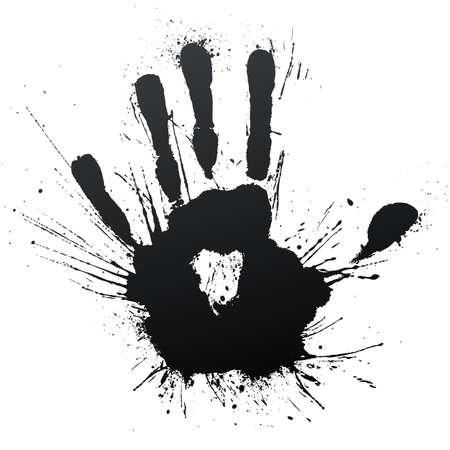 Vector illustration of a highly detailed ink splatter powerful blow handprint. Stock Photo