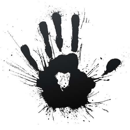 Vector illustration of a highly detailed ink splatter powerful blow handprint. Standard-Bild