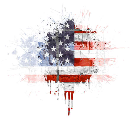 Modern grunge splatter design with American flag, Dollar symbol. Distressed grungy look with ink drop explosion. Stock Photo
