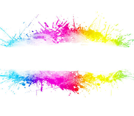 Rainbow splatter background with beautiful ink overlays and party concept. Empty stripe in the middle for custom text.