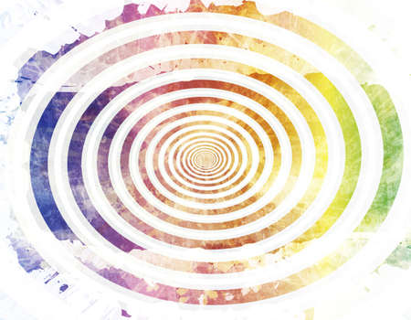 Old washed out paper grungy background with spiral design flowing to the center. Imagens