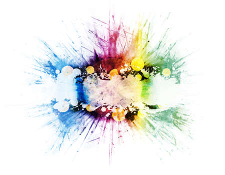 Colorful retro rainbow splatter design with beautiful color variatons, detailed splatters and zoomed explosion blur effect. Vinyl records in the middle with frame for custom elements. Standard-Bild