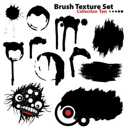 Vector outline traces of customizable organic paint brushes (strokes) and retro frames in different shapes and styles, highly detailed. Grouped individually, easily editable. Collection set number 10. photo
