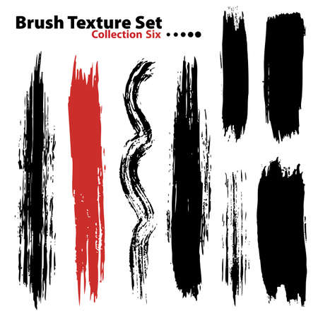 Vector outline traces of customizable organic paint brushes (strokes) in different shapes and styles, highly detailed. Grouped individually, easily editable. Collection set number 6. Stock Photo