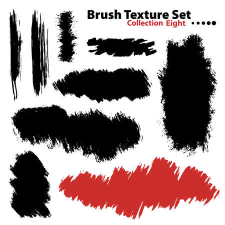 Vector outline traces of customizable organic paint brushes (strokes) in different shapes and styles, highly detailed. Grouped individually, easily editable. Collection set number 8. Stock Photo