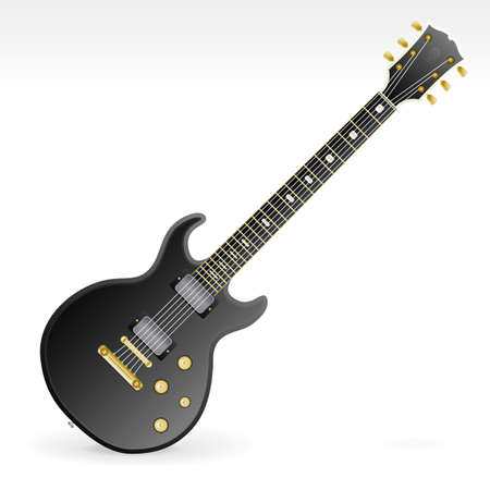 Vector illustration of a highly detailed six string electric rock guitar with gold and silver elements, two magnets and four tone knobs.