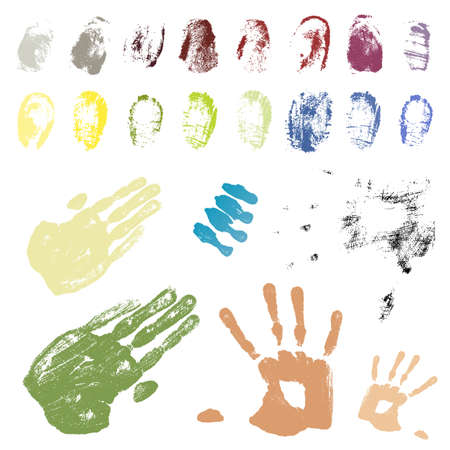 Vector illustration of a collection of grungy traced fingerprints and handprints. Color coded and highly detailed. illustration