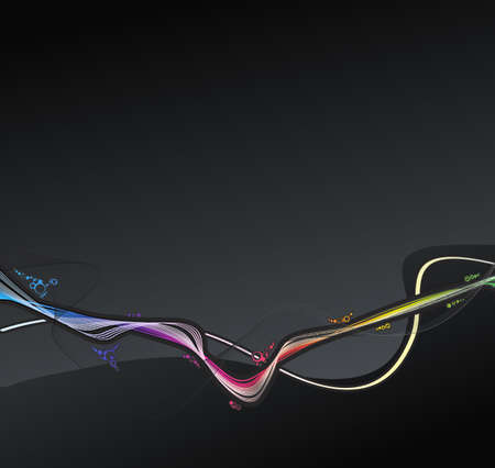 slick: Vector illustration of a retro lined art rainbow flow on a dark slick background. Stock Photo