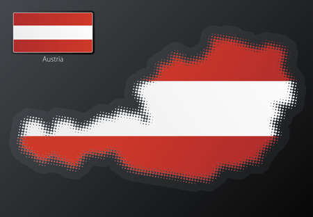 Vector illustration of a modern halftone design element in the shape of Austria, European Union. Second halftone, border and contents, on separate layer. Additional flag included. Stock Illustration - 3939827
