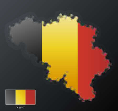 separate: Vector illustration of a modern halftone design element in the shape of Belgium, European Union. Second halftone, border and contents, on separate layer. Additional flag included.