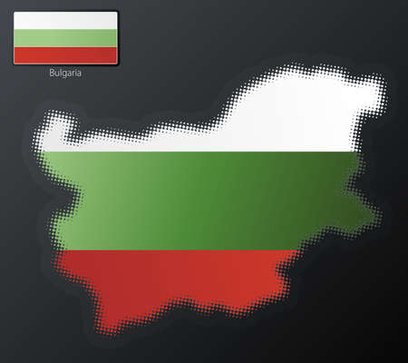 Vector illustration of a modern halftone design element in the shape of Bulgaria, European Union. Second halftone, border and contents, on separate layer. Additional flag included. Stock Illustration - 3939826