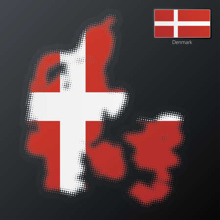 Vector illustration of a modern halftone design element in the shape of Denmark, European Union. Second halftone, border and contents, on separate layer. Additional flag included. illustration