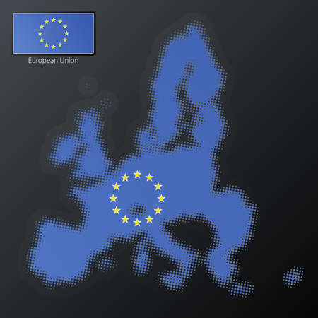 Vector illustration of a modern halftone design element in the shape of the European Union. Second halftone, border and contents, on separate layer. Additional flag included. Stock Illustration - 3939871