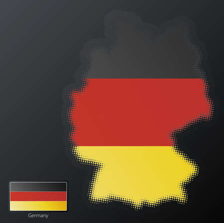 Vector illustration of a modern halftone design element in the shape of Germany, European Union. Second halftone, border and contents, on separate layer. Additional flag included. Stock Illustration - 3939820