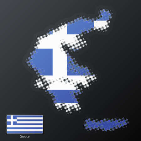 separate: Vector illustration of a modern halftone design element in the shape of Greece, European Union. Second halftone, border and contents, on separate layer. Additional flag included.