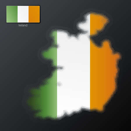Vector illustration of a modern halftone design element in the shape of Ireland, European Union. Second halftone, border and contents, on separate layer. Additional flag included. illustration