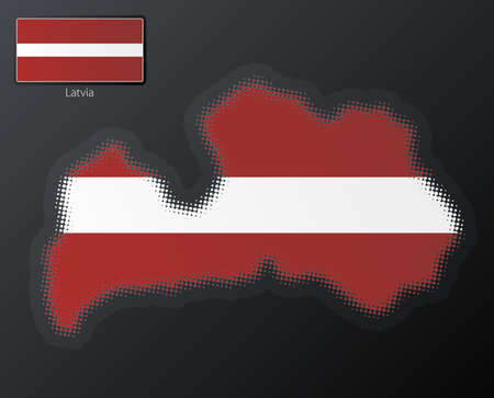 Vector illustration of a modern halftone design element in the shape of Latvia, European Union. Second halftone, border and contents, on separate layer. Additional flag included. Stock Illustration - 3939824