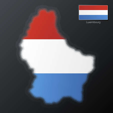 Vector illustration of a modern halftone design element in the shape of Luxembourg, European Union. Second halftone, border and contents, on separate layer. Additional flag included. Stock Illustration - 3939822