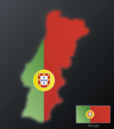 Vector illustration of a modern halftone design element in the shape of Portugal, European Union. Second halftone, border and contents, on separate layer. Additional flag included. illustration