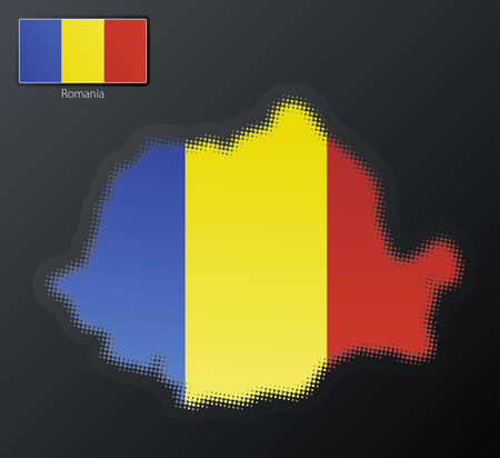 Vector illustration of a modern halftone design element in the shape of Romania, European Union. Second halftone, border and contents, on separate layer. Additional flag included. Stock Illustration - 3939821