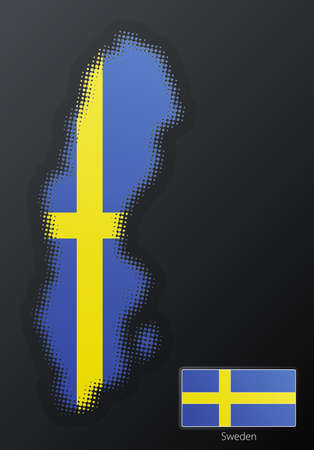 Vector illustration of a modern halftone design element in the shape of Sweden, European Union. Second halftone, border and contents, on separate layer. Additional flag included. Stock Illustration - 3939823