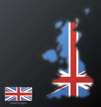 Vector illustration of a modern halftone design element in the shape of United Kingdom, European Union. Second halftone, border and contents, on separate layer. Additional flag included. Stock Illustration - 3939866