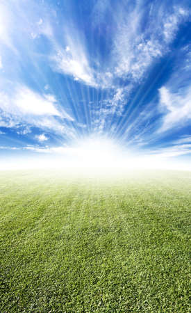Beautiful sun flare horizon over land meadow photo with bright future concept. Stock Photo