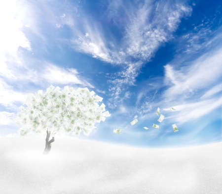 Beautiful scenery with cash tree with falling banknote leaves. Freezing wind crisis concept. photo