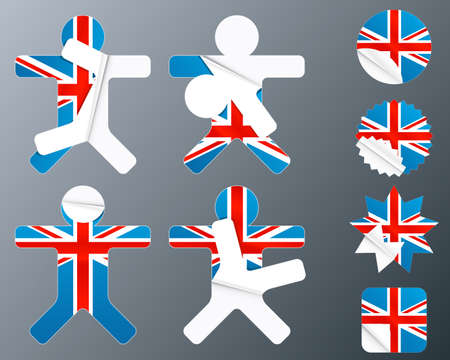 Vector illustration of eight different peeling stickers in UK flag theme. illustration