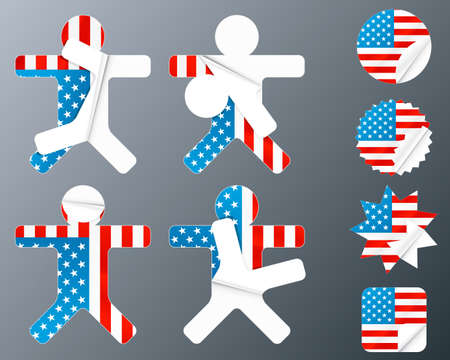 Vector illustration of eight different peeling stickers in United states of America flag theme. illustration