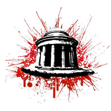 Vector illustration of a grungy blood splatter monument design element. illustration