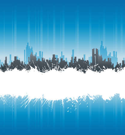 Vector illustration of a modern urban background with central white ink splatter stripe for custom elements. Stock Illustration - 4014309