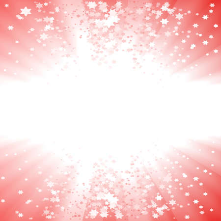Vector illustration of a magical red Christmas explosion of stars. Glowing light center for custom elements.