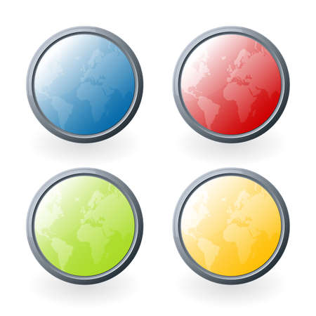 Vector illustration of four highly detailed glossy world map buttons or icons with light beautiful light reflections. illustration