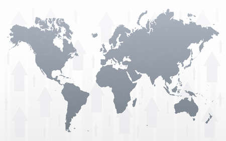 Vector illustration of a world map with conceptual arrows background. illustration
