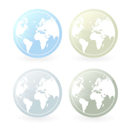 Vector illustration of four mildly colored world map icons. Slight glossy effect and shadow. Stock Illustration - 4014300